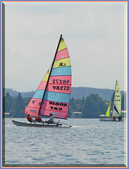 Redblueyellow stays ahead!! (mhobl) Tags: blue red lake rot yellow gelb catamaran blau starnbergersee hobbie booteschiffe stasrnberg