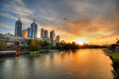 Sunrise over the Yarra river, Melbourne (5ERG10) Tags: morning bridge trees sun reflection building sergio wheel skyline clouds photoshop sunrise river balloons observation boats early nikon skyscrapers alba fiume australia melbourne ground ferris victoria palm cricket handheld rowing yarra hotairballoons hdr highdynamicrange birrarung d300 3xp photomatix sigma1020 tonemapping amiti 5erg10 stkildroad sergioamiti