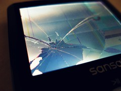 Cracked Sansa MP3 Player Screen