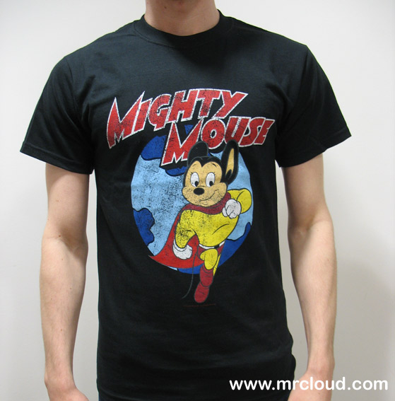 A retro t-shirt featuring the Mighty Mouse cartoon character.