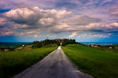 Artefatto (marco prati) Tags: road panorama primavera grass clouds canon landscape lunch spring strada nuvole erba cielo plain pranzo pianura pausa imola 400d