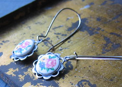 Vintage Cabochon Earrings (ninainflorida) Tags: pink flowers blue yellow vintage crystal handmade mums clear cameo earrings