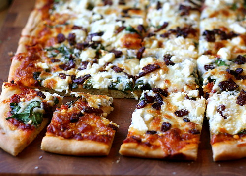 Spinach, Feta, and Bacon Pizza with Sun-Dried Tomato Sauce