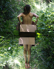 (Brittany Chavez) Tags: girl woods box manipulation cardboard portlandor flyingthru