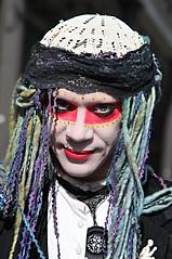 VooDoo Mime (wyojones) Tags: new blue man guy hat dreadlocks hair square french drag eyes orleans louisiana dress lace neworleans makeup jackson queen gloves frenchquarter quarter jacksonsquare nola marielaveau mime bluehair voodoo bigeasy voodoodoll broach purplehair vieuxcarre grisgris vodoun cresentcity voodooqueen neworleanslouisiana steetentertainer mimeindrag