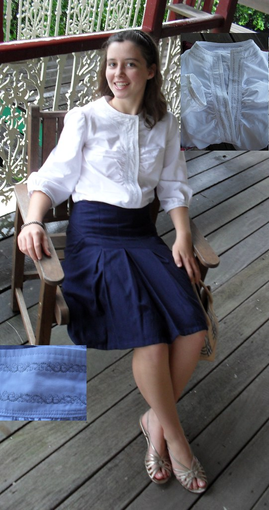embroidered blouse, navy skirt