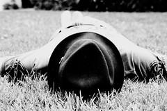 Hat Portrait (Pia Gaytan de Ayala) Tags: park parque portrait bw white black guy blanco grass hat nap retrato negro bn siesta sombrero chico hierba