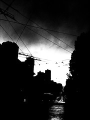 (kellinasf) Tags: sanfrancisco street storm bus rain contrast high union cables wires hicon day288 365community iphone365 iphoneography