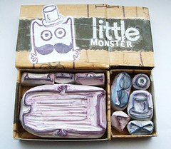 OTT GRR little monster (Miss Thundercat) Tags: cute fun handmade craft swap tophat sent drawers ott matchbox littlemonster mustach handcarvedstamp swapbot
