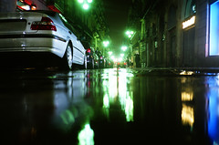 One of those rainy nights... (Trapac) Tags: barcelona city blue urban orange green cars film wet water night reflections lights spring spain noir fuji streetlights cyan olympus catalonia xa2 espana vehicles rainy g1 parked catalunya analogue olympusxa2 raining puddles 800 gothicquarter barriogótico laribera barrigòtic 800iso floorshot 2011 fujipro800z fujipro floorpod flickrcollectionongetty g1214 olympusxa2roll23 tracypackerphotography wwwtracypackercom gettymomentcreativecollection