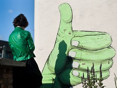 The Incredible Thumb (Magic Pea) Tags: blue sky urban green london bar clouds garden photography photo pub outdoor candid streetphotography streetlife thumb thumbsup unposed dalston eastlondon dalstonkingsland roofterrace greenlady magicpea