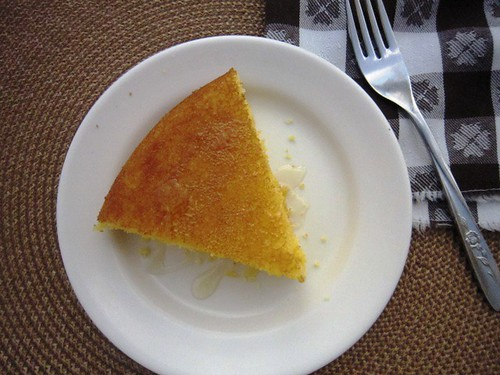 Slice of cornbread with fork