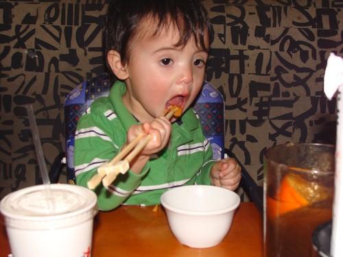 Benji has chopstick skills