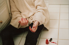 (Rebecca Williams.) Tags: red white girl tile bathroom sweater hands ugly woohoo acetone fingernailpolish jetaime beccaburst monaussi