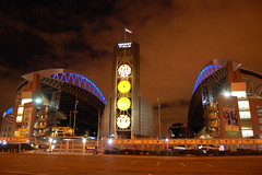 Qwest Field, Seattle (lightpaint) Tags: seattle usa clock field night washington football long exposure qwest