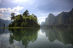 Jungle reflections (Danil) Tags: holiday nature reflections landscape thailand monkey nikon daniel decmeber d70s tropical 2008 pure karst hdr rockformation junglereflections khaosoknationalpark dedaniel sittinginakayak
