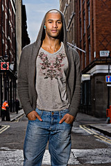 Keith (r c hill photography) Tags: street portrait man black london fashion top stranger jeans hooded strobist