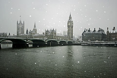 Snow fall in london!...February 2009: A Winter Thames (claire barnes) Tags: water reflections reflection embankment uk weather composition beautiful calm white shadows shape thames urban scene melancholy colour london bigben housesofparliament cityscape river city snow winter winterscene christmas snowing 20209 february2009 soft unusual 2009 snowfall cold wintry