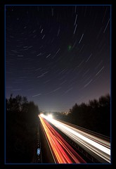 Car trails and Star trails (David Hannah) Tags: road night stars lights star scotland motorway trails polaris bonnybridge m876 tambowastoopishedtojointheshoot tambowelshed tambowantedtostayincozitwascold tambowasbeingalazybastid
