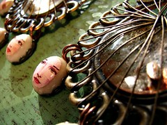 Mirror Mirror on the Wall Earrings - Triplet Droplet Edition (ambrayasmin) Tags: fairytale wire faces handmade jewelry jewellery polymerclay copper mysterious earrings etsy snowwhite brass decoupage
