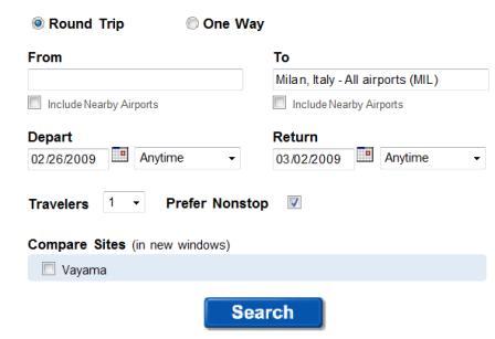 Fly.com flight search