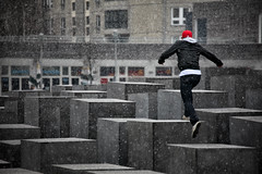 In a Present Past (Pensiero) Tags: boy snow man berlin hat concrete holocaust jump memorial geometry neve cappello berlino pensiero olocausto memoriale stefanocorso jumpingthewall stelenspringen