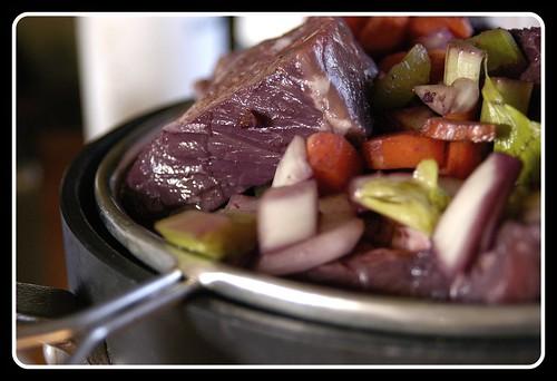 Beef Bourguignon, marinated overnight.