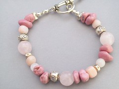 Perfectly Pink Bracelet (sweetanniesjewelry) Tags: beads turquoise jewelry bracelet beaded rosequartz sterlingsilver