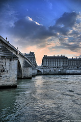 under the bridge (romvi) Tags: bridge paris france building water seine architecture clouds la nikon eau haussmann perspective le villa pont nuages romain hdr immeuble batiment berges fleuve sous quais d90 romainvilla romvi europeunder