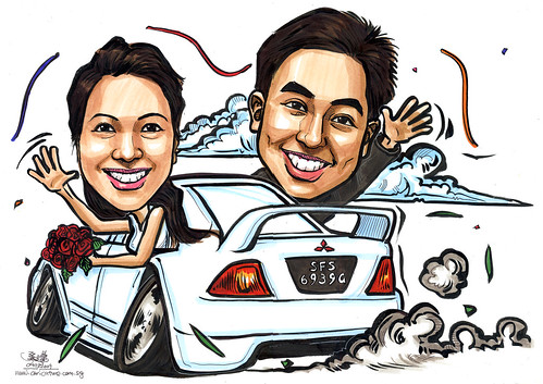 Wedding couple caricatures on Mitsubishi Lancer A4