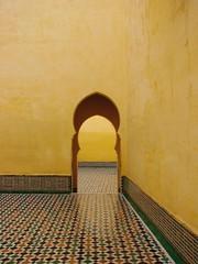 Lone doorway (daniel.virella) Tags: yellow unescoworldheritagesite doorway morocco mausoleum tiles maroc marruecos marrocos  mekns muleiismail