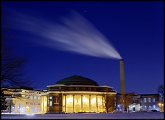 Convocation Hall under steam and night sky (Now and Here) Tags: blue sky toronto ontario canada building yellow night stars fb smoke sony universityoftoronto steam smokestack alpha dslr hdr uoft mostviewed a300 hugin convocationhall sandfordfleming edr knoxcollege view500 fave5 fave10 sonydslra300 fave25 nowandhere blogtoradar20090410 davidfarrant