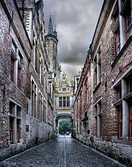 Blind Donkey Alley in Bruges (Brugge, Belgium) (dleiva) Tags: plaza canal arquitectura alley belgium belgique blind donkey amanecer bruges markt chanel belgica brujas hof rchitecture provinciaal flandes entorno blinddonkeyalley bruggue dleiva