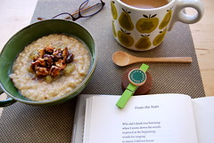 from the start (sevenworlds16) Tags: coffee breakfast reading wooden maple poetry walnuts spoon oatmeal bananas mug toasted wsmerwin orlakiely happyreadinglife bythewonderful