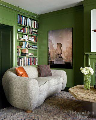 Another reason to go green: Green living room + Benjamin Moore 'Pine Brook', featured in Met Home