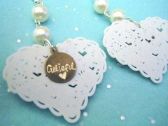 whiteribbon earrings tag (cutieful.face) Tags: earings kitsch jewelry kitschy jewels filigree kitsh