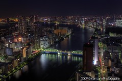 Looking down the river... (Ken.Lam) Tags: bridge fish japan night river tokyo nightscape shot market towers illuminations tsukiji   sumida kachidoki hdr ohashi      kenlam