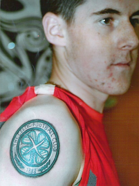 celtic football club crest arm tattoo by dublin ireland tattoo artist 'Pluto