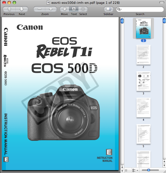 Canon T1i / 500D / Kiss X3 Manual