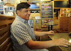 Smiling at Two Writers (Daudpota) Tags: pakistan portrait coffee photography cafe icecream lahore hotspot developingcountry southasia isadaudpota