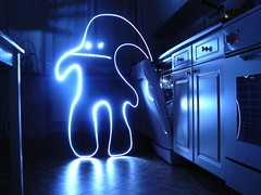 """i'm the spirit of your dirty dishes!!!!"" (Math__) Tags: longexposure light lightpainting kitchen monster funny paint panasonic drawn anawesomeshot flickrunitedaward"