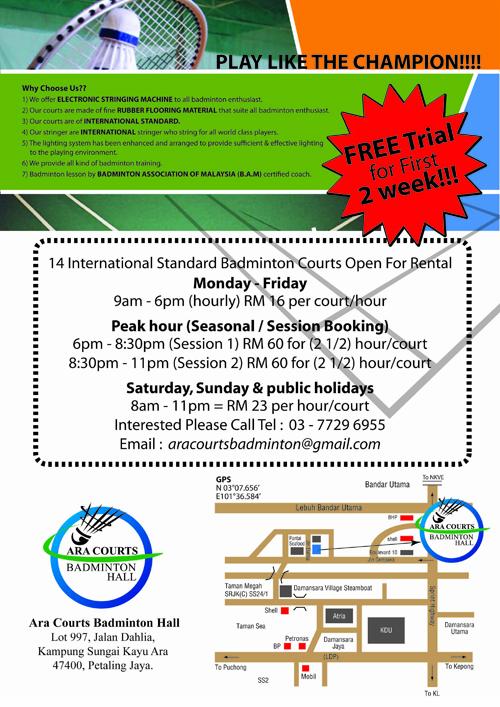 New Badminton Court – Ara Courts Badminton Hall (Free Trial – 2weeks)
