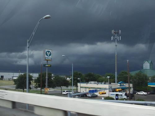 stormy gray skies