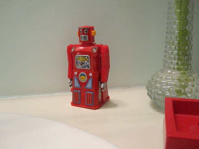 A cute robot moved into my bathroom. He's from Japan.