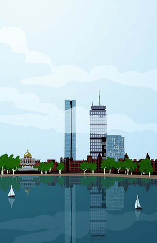 Boston skyline cartoon by blackaller