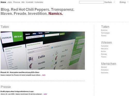 Die neue Namics Website. Die Dynamische Wortmarke