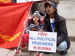 Burmese protest outside the Burma/Myanmar Embassy