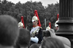 At Her Majesty's Service (bobo moirangthem) Tags: uk red horse london monochrome gold interesting nikon crowd royal palace impact uninteresting sword guards buckingham attention rider majesty obstructedview queensbirthday d90 selectivecoloring