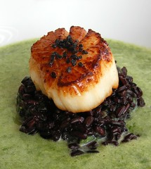Chives Soup with black rice, scallop and black salt (FotoosVanRobin) Tags: scallop coquille coquillesaintjacques stjacobsmosselen kammosselen bieslooksoep soep bieslook chives soup blackrice zwarterijst blacksalt aziatischeingredientennl aziatischeingredienten asianingredients foodblogevent aziatischeingredinten
