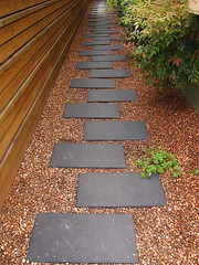 Symmetrical Path (lifebegreen) Tags: shells modern fence garden landscape design wooden path walkway mulch pavers